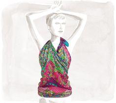 "Pique Fleuri de Provence  Cashmere and silk shawl, hand rolled, 56"" x 56"""