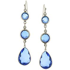 Constance Chanel Sapphire Blue Drop Earrings ($19) ❤ liked on Polyvore