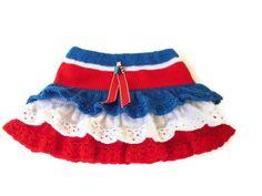 On Etsy: Knitted skirt, decorative crochet edging, red white blue, ruffle skirt, patriotic, free hair accessory, diamond jubilee, 4th July. UK US