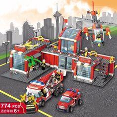 Kids Boys DIY Fire Series Headquarters Educational Toys Building Blocks Bricks #Unbranded