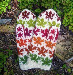 Ravelry: Maple Leaves Mittens pattern by Natalia Moreva Fingerless Mittens, Knit Mittens, Knitted Gloves, Baby Hats Knitting, Fair Isle Knitting, Knitting Socks, Knitting Machine Patterns, Knitting Charts, Crochet Patterns