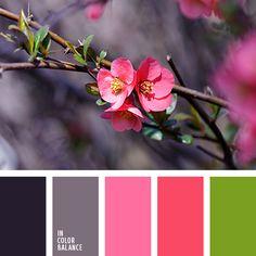 зеленый, кораллово-розовый цвет, почти черный цвет, розовое, розовый, серо-фиолетовый, серый, сочный зеленый, сочный салатовый, темно серый, темно-салатовый, цвет баклажана, цвет молодой зелени, цвет травы.