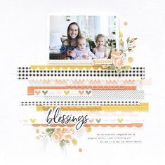 Would look cute with Jen Hadfield Along the Way. Blessings Layout with Amber kit Scrapbook Journal, Baby Scrapbook, Scrapbook Albums, Scrapbook Paper, Photo Layouts, Scrapbook Page Layouts, Scrapbooking Ideas, Surabaya, Bridal Shower Scrapbook