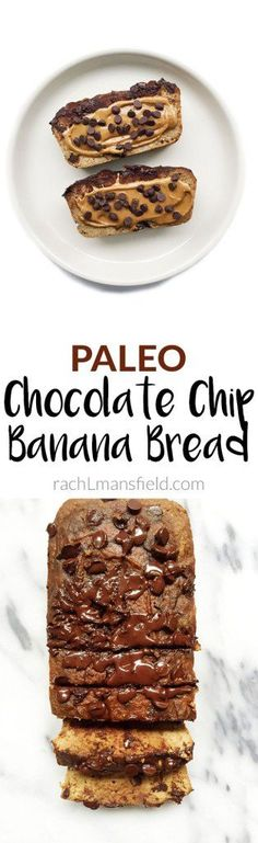 Heavenly Paleo Chocolate Chip Banana Bread that is nut, grain & gluten-free. Made coconut flour and other healthy and simple ingredients! Paleo Dessert, Paleo Sweets, Healthy Desserts, Healthy Breads, Dessert Bread, Healthy Breakfasts, Paleo Chocolate Chips, Chocolate Chip Banana Bread, Snack Recipes