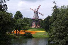 #architecture #bremen #city #europe #germany #historic #lake #landmark #landscape #park #scenic #tourism #trees #urban #water #windmill