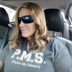 Celebrating one of our BFF's Tarra / @refined_country for this awesome salon day pic featuring our PMS (Packin' My Sidearm) Tee - ❤️in it & you Girl!! 🌟🌟