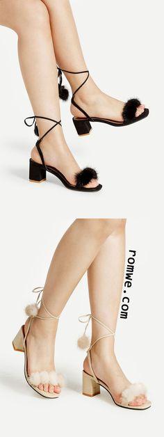 Pom Pom Lace Up Block Heeled Sandals