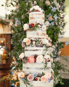 Trendy And Gorgeous Wedding Cake For Your Wedding Fantasy Wedding Cakes; Fruit Wedding Cake, Purple Wedding Cakes, Wedding Cake Stands, Wedding Cake Decorations, Wedding Cake Designs, Wedding Art, Rustic Wedding, Floral Wedding, Cake Shapes