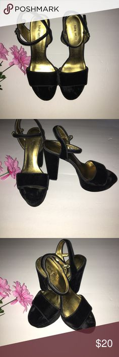"""Nine West Velvet Ankle Strap Chunky Heel The popular 90's era Suede Chunky Heels   all Suede with gold interior and side buckle   size 8   worn once   very trendy and """"in"""" Nine West Shoes Platforms"""