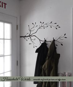 Tree Branch Decor Vinyl Wall Decal DIY Coat rack by HouseHoldWords  By front door to match birds!