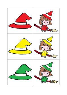 Deel 1 Associatiespel: heks - hoed. Memory: heks - hoed in de juiste kleur horen bij elkaar Theme Halloween, Halloween Crafts, Room On The Broom, Bricolage Halloween, Transportation Theme, Monthly Themes, School Colors, Projects For Kids, Fairy Tales