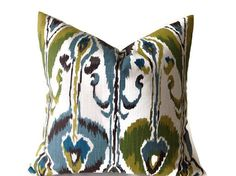 Pillows, Green ikat Pillow, Green, Brown, Throw Pillows, Decorative  Pillow Cover, Designer Fabric On Both Sides  invisible Zipper Closure