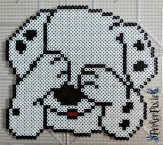 So, I did~ Enjoy all you Dalmatian fans out there! Peek-a-boo Dalmatian Perler Bead Designs, Easy Perler Bead Patterns, Hama Beads Design, Diy Perler Beads, Perler Bead Art, Cross Stitch Patterns, Pixel Art, Hama Beads Disney, Pull Bebe
