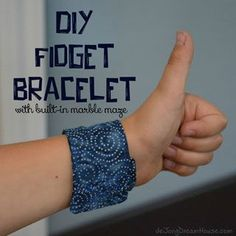 de Jong Dream House: DIY Fidget Bracelet with Built in Marble Maze I actually bought one from de Jong Dream House instead of making one. Sent it to school with my nephew so we'll see how it does at keeping his little chatty mouth closed. Diy Fidget Toys, Fidget Tools, Diy Toys, Dementia Activities, Sensory Activities, Autism Sensory, Elderly Activities, Sensory Diet, Sensory Play