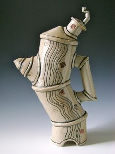 Handmade Stoneware Pottery By Mike Paluska - teapot. LOVE IT! It's so quirky and fun, could drink tea all day from this