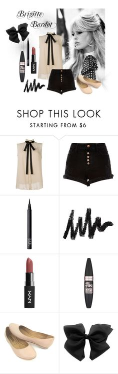 """""""Brigitte Bardot"""" by sophieglam ❤ liked on Polyvore featuring GE, River Island, NARS Cosmetics and Maybelline"""
