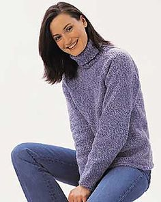 This classic turtleneck sweater will become a timeless staple of your wardrobe. Sizes S - XL (bust 34 - 40 in). Shown in Bernat Denimstyle knit using sizes 4.5 mm (U.S. 7) and 5 mm (U.S. 8) needles. (Yarnspirations)