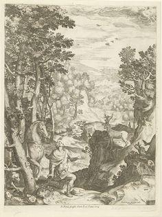 Cornelis Cort | Landschap met het visioen van Eustachius, Cornelis Cort, Carlo Losi, 1573 | Eustachius verschijnt onderweg in het bos een hert met een crucifix in het gewei. Eustachius draagt de kleding van een Romeinse soldaat. Hij stapt van zijn paard en knielt in aanbidding voor het hert.