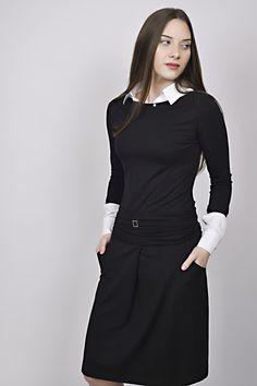 business look, black dress, white shirt, black and white, management, reception Business Look, Reception, Management, High Neck Dress, Black And White, Shirts, Dresses, Design, Fashion
