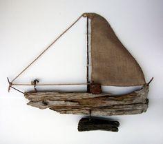 Big Driftwood Sailboat, Nautical Decor, Beach Finds, Driftwood Art, Fireplace Decor