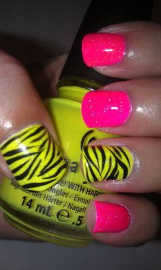 neon yellow and hot pink zebra nails perfect for my dress I got for my friends 80s graduation party