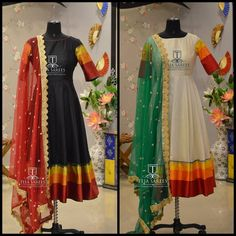 Love the duppatas Anarkali Dress Pattern, Sari Dress, Dress Patterns, Saree Gown, Indian Attire, Indian Outfits, Western Outfits, India Fashion, Ethnic Fashion