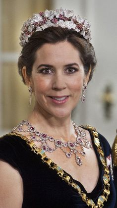 Crown Princess Mary brought out the big guns when she attended Queen Margrethe's 40th jubilee as Regent in 2012. The diamond ruby tiara is also the first tiara Mary ever wore.