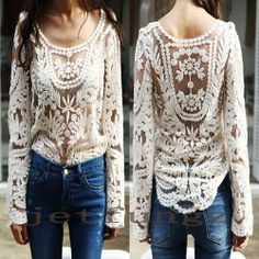 Semi Women Sheer Sleeve Embroidery Floral Lace Crochet Tee T-Shirt Top Blouse  NEEDS A FULL LINER