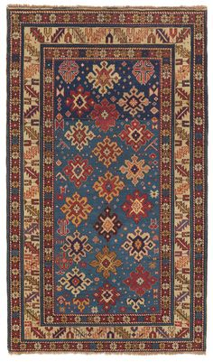 Caucasian Shirvan, 3ft 5in x 5ft 5in,  3rd Quarter, 19th Century. Striking in its combination of a rarely seen, radiant French blue field with extremely clear articulation of design, this virtuoso piece holds great interest for the seasoned connoisseur of tribal rugs. Only with the exceptionally fine weave and close, even cutting of the pile is such an intense clarity possible. The great precision of its craftsmanship contrasts wonderfully with the weaver's use of intentional asymmetry.