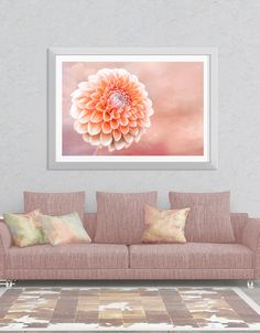 """Glorious Salmon Dahlia framed print by Anita Pollak.   Bring your print to life with hundreds of different frame and mat combinations. Our framed prints are assembled, packaged, and shipped by our expert framing staff and delivered """"ready to hang"""" with pre-attached hanging wire, mounting hooks, and nails. SHIPS WITHIN 2 - 3 business days"""