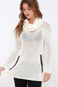b81a6d00c7 RVCA Down Unda Cream Cowl Neck Sweater at Lulus.com! Cute Sweaters