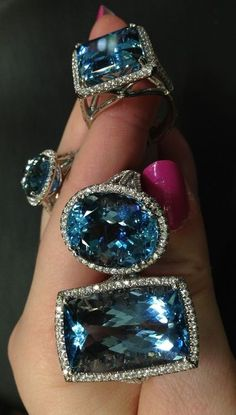 This would be a really cool twist on an engagement ring! Aquamarine and diamond rings by Coast Diamond. Via Diamonds in the Library. I Love Jewelry, Jewelry Rings, Jewelry Accessories, Fine Jewelry, Jewelry Design, Jewelry Making, Chanel Jewelry, Jewellery Box, Statement Jewelry