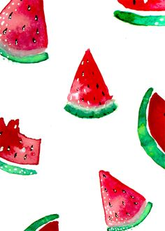 Watermelon Watercolor Summer Melon Fruit Decoration Wall Nursery Decor Strawberry Printable Download/ Instant Download Print/ Wall Art  Wassermelone Watermelon Wasserfarbe/Aquarell Sommer Frucht Dekoration Kinderzimmer Bild Wand: Herunterladbares Poster/Print/ Datei Download