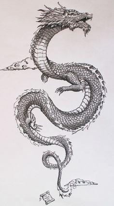 Tatto Ideas 2017 - Ancient japanese dragon on Behance. Tatto Ideas & Trends 2017 - DISCOVER Ancient japanese dragon on Behance Discovred by : A L I C E Kunst Tattoos, Irezumi Tattoos, Tattoo Drawings, Body Art Tattoos, Tattoo Sketches, Art Drawings, Spine Tattoos, Leg Tattoos, Men Back Tattoos