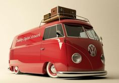 Red VW Van - clean lines Volkswagen Bus, Volkswagen Transporter, Bus Camper, Vw Caravan, Campers, Wolkswagen Van, Combi T2, Combi Split, Vw Camping