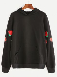 To find out about the Black Pocket Front Rose Embroidered Hoodie at SHEIN, part of our latest Sweatshirts ready to shop online today! Gothic Lolita Fashion, Cool Sweaters, Hoodies, Sweatshirts, Sweater Hoodie, Black Hoodie, Winter Fashion, My Style, How To Wear