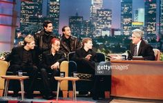 Backstreet Boys Nick Carter Kevin Richardson AJ McClean Howie Dorough Brian Littrell during an interview with host Jay Leno on August 10 1998