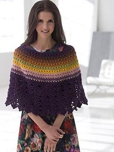 Lion Brand: Lace Edged Poncho Crochet Pattern. Finished Circumference About 60 in. Aran weight yarn. Free registration required.