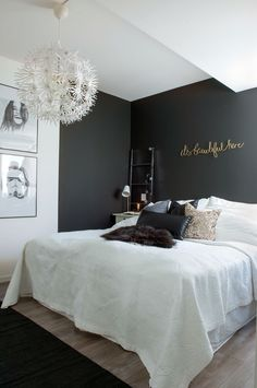 much modern elegance in the bedroom of this Norwegian house. The deep black accent wall, - Schlafzimmer Deko Ideen -So much modern elegance in the bedroom of this Norwegian house. The deep black accent wall, - Schlafzimmer Deko Ideen - Bedroom Color Schemes, Bedroom Colors, Home Bedroom, Bedroom Decor, Master Bedroom, Bedroom Lighting, Bedroom Small, Small Rooms, Bedroom Rugs