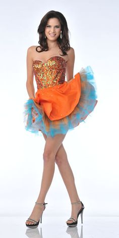 Orange and Turquoise Short Prom Dresses