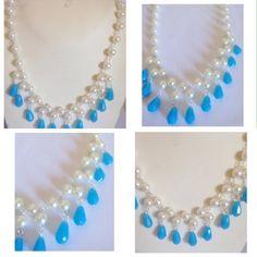 #collana in #perla #sintetica #bianca con #pendenti a #goccia in color #celeste #cristallo. per info e altri prodotti: www.oro18.eu  #handmade #necklace with #sintetic #pearls and #light #blue #pendant in #crystals. more info and products: www.oro18.eu.