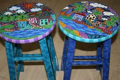Whimsical Hand painted Bar Stool Set, signed, by Dominique Rice. cheetahdmr@aol.com asmatcollection on ebay & bonanza,com