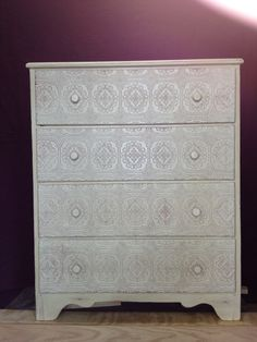 Shabby Chic Dresser with Embossed Drawers by lasecondavita on Etsy, $180.00