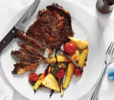 Steak with roasted parsnips & tomatoes