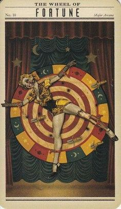 wheel of fortune - zombie tarot Find out what The Wheel of Fortune means for you: www.tarotbyemail.com #readingtarotcards Wheel Of Fortune Tarot, La Danse Macabre, Circus Aesthetic, Dark Circus, Tarot Major Arcana, Arte Horror, Tarot Readers, Vintage Circus, Vintage Carnival