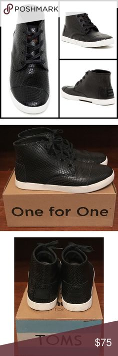 ⬇️PRICE DROP⬇️MINT TOMS Paseo Black Snake Sneakers MINT TOMS Paseo Black Snake Sneakers...maybe worn twice, they are in perfect condition....I did not clean the soles so you could see they have barely been worn... Toms Shoes Sneakers