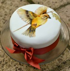 MurrayMe hand painted celebration cake with bird. http://cakes.murrayme.co.uk
