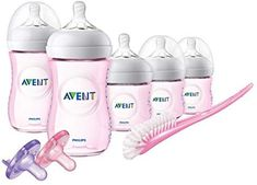 Philips AVENT Natural Baby Bottle Set - Pink for sale online Baby Bottle Set, Best Baby Bottles, Pink Bottle, Breastfeeding And Bottle Feeding, Baby Feeding, Avent Baby Products, Baby Gift Sets, Baby Gifts, Natural Baby