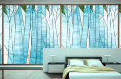 Abstract forest design Sheer window shade/ covering by designmeem