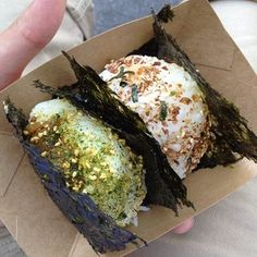 Sunny Blue in Santa Monica for homemade omusubi (Japanese rice balls with different fillings inside, wrapped with our without nori).